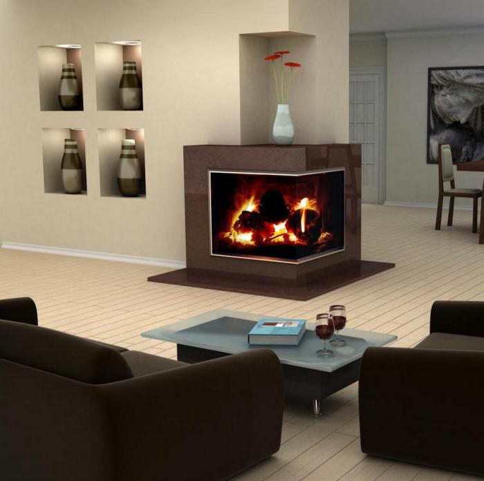 corner fireplace with your own hands