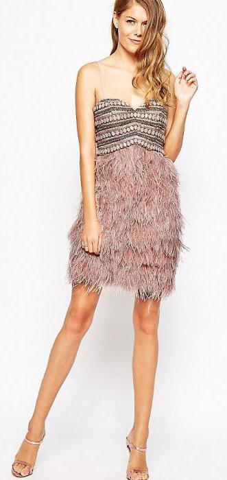 dress with feathers on a skirt